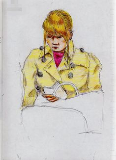 This is a sketch of the lady who put on the beige trench coat I drew in the train.