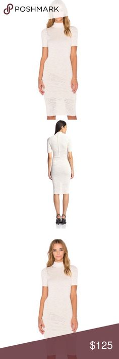 Torn by Ronny Kobo dress in cream size extra small Torn by Ronny Kobo dress. In cream with subtle zebra print  Short sleeves Knee length Lined  86% Rayon, 14% Nylon Lining is 100% Polyester Size x small Black Brand new with tags  Msrp $406 Torn by Ronny Kobo Dresses Midi
