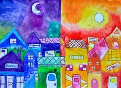 La veduta di un antico paese con le case ammassate una all'altra diventa un pretesto per sperimentare i colori caldi e freddi: metà villaggio è immerso nei colori freddi della notte e l&#8217…