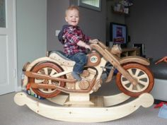 Wooden stuff on pinterest rocking horses motorcycles for Woodworking plan for motorcycle rocker toy
