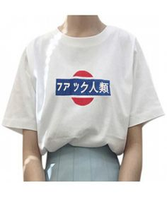 japanese print shortsleeve loose tshirt