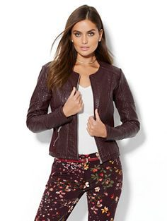 Cable-Knit Textured Faux-Leather Jacket - New York & Company Trending Now, Faux Leather Jackets, Casual Outfits, Rompers, Clothes For Women, Sweaters, Shopping, Cable Knit, York
