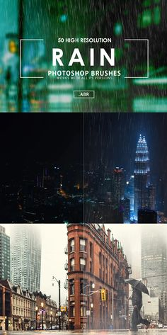 50 Rain Photoshop Brushes Photoshop Brushes, Rain, Templates, Places, Beautiful, Design, Rain Fall, Stencils, Lugares