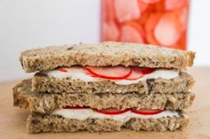Cashew cheese sandwich with quick pickled radishes