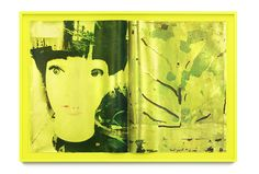 Shinro Ohtake Yellow Sight 12 _2015  Screen print on Stonehenge paper, bounded with linen in yellow frame 116 x 167 x 9.5 cm