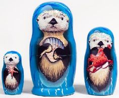 3.5 Inch Sea Otter 3 Piece Russian Wood Nesting Doll