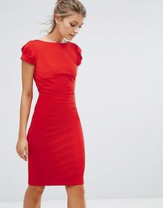 Closet London | Closet London Pencil Dress With Ruched Cap Sleeve