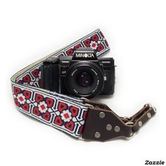 Red Gemoetric Handmade Camera Strap w/ Leather End,made by Feedback Straps