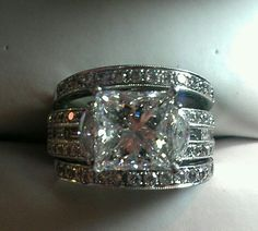 Simon G diamond engagement a d wedding bands. 2.97ct. Princess cut diamond.