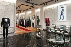 Interior of Alexander McQueen store, 9 Savile Row, London. Design by David Collins Studio. Retail Store Design, Retail Shop, David Collins, Top Luxury Brands, Luxury Shop, Savile Row, Top Interior Designers, Interior Shop, Top Designers