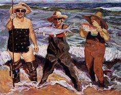 Big Women Fishing at the Beach - Original Coastal Art Scenes
