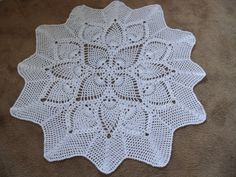 Crochet White Circular Baby Shawl 43 inches by Meganknits4charity, £38.00