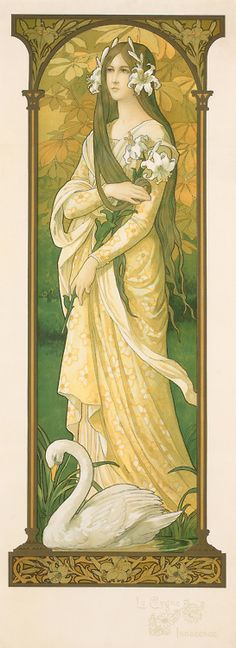 The Innocent Swan - by Elizabeth Sonrel (French, 1874-1953) - Art Nouveau - @~ Mlle