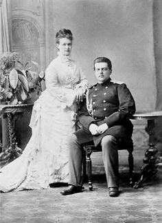His Imperial Highness Grand Duke Vladimir Alexandrovich of Russia with his fiancee Her Highness Duchess Marie of Mecklenburg-Schwerin, 1874
