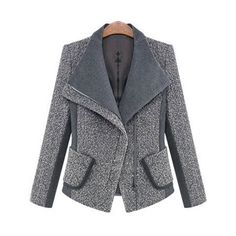 Stylish Lapel Long Sleeve Spliced Pocket Design Slimming Blazer For... ❤ liked on Polyvore featuring outerwear