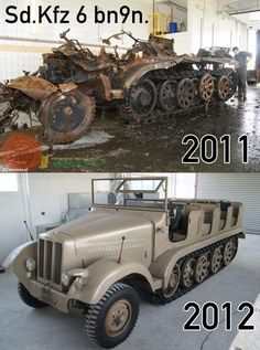 A photo showing the condition of a rescued SdKfz 6 halftrack before and after a complete restoration