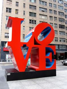 Pop Art sculpture by artist Robert Indiana. Located in NYC I Love Ny, All You Need Is Love, Indiana Love, James Rosenquist, Pop Art, Modern Art Sculpture, West New York, Claes Oldenburg, Art Icon
