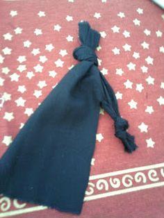 7-Dê um nó em cada perninha. Se o nó ficar no meio da perna vá puxando até a ponta.