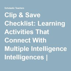 learning and memory multiple intelligences Use it to refresh your memory on each of the intelligences and pinpoint learning activities that will appeal to your students based on their particular strengths to involve students in identifying their multiple intelligences, invite them to complete the connell multiple intelligence questionnaire for children.