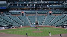 The Baltimore Orioles bat against the Chicago White Sox during a baseball game without fans, in Baltimore, Wednesday, April 29, 2015. (AP / Gail Burton)
