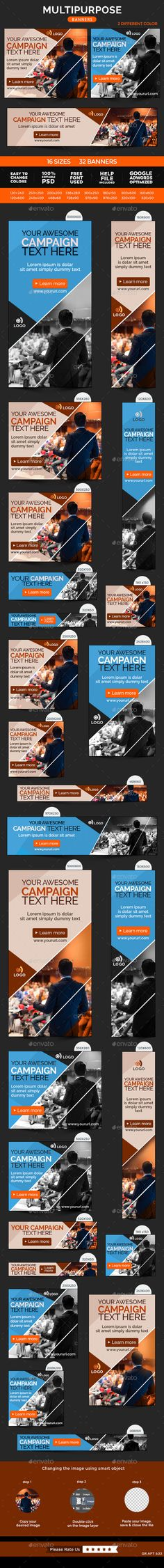 Multipurpose Banners Design Template #banners #web #design Download: http://graphicriver.net/item/multipurpose-banners/11479280?ref=ksioks