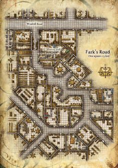 Fark's Road An interesting map for a city alley, useful for brawls, ambushes and wide-ranging mayhem. Plenty of places to hide: could easily host a riot, a crowd with hidden assassins or a rapaging monster.