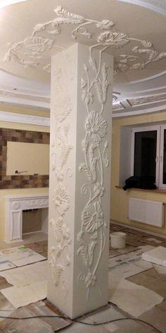 Plaster design on wall – Artofit Ceiling Design, Wall Design, House Design, Muebles Estilo Art Nouveau, Interior Design Living Room, Interior Decorating, Plafond Design, Plaster Art, Column Design