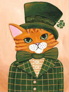 The Irish Dandy - Original Saint Patricks Day Cat Folk Art Painting  by KilkennycatArt