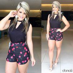 Começando o dia toda linda com esse look MARAVILHOSO ✨ {shortinho de cereja  fazendo a gente se apaixonar.}❤️