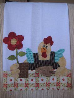 Pano de prato galinha jardineira