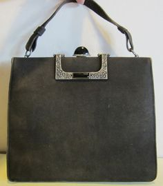 be9f74e49 RARE French art deco suede leather vintage evening bag, FAB markasite and  onyx decoration and snap