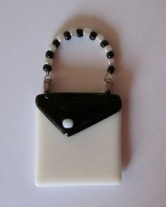 Purse Magnet Black and White Fused Glass by outofourgourds, $10.00