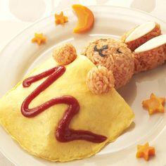 イースターにちなんで、バニーなお料理特集中☆ひらりと乗せた薄焼き卵を、おふとんに見立てたオムライスです^^ - 208件のもぐもぐ - スヤスヤうさぎのオムライス by カゴメトマトケチャップ