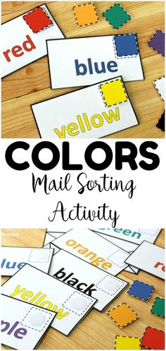 Preschool Color Sorting Game - Look! We're Learning! - Colors and Shapes - Make color recognition into a fun hands on lesson with this preschool mail color sorting activity! Preschool Color Activities, Preschool Centers, Preschool Learning Activities, Sorting Activities, Free Preschool, Preschool Curriculum, Preschool Classroom, Classroom Setup, Autism Preschool