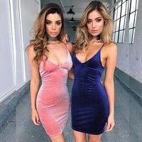 Wish   Women Fashion Dress Sexy Sleeveless Backless Gold Velvet Dress Pleuche Dress S-5xl