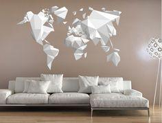 Urbano - Origami Mapa Mundo - Decoração em vinil Autocolante decorativo e Papel de parede