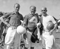 Leslie Howard, the polo player Snowy Baker and James Gleason at the Greyhounds-Panthers battle at the Rivera Country Club in Santa Monica, June 21, 1933.