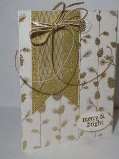 Winter Wonderland Vellum DSP from Stampin Up in action! Enjoy and visit me at http://thescrappingqueen.blogspot.com/2015/10/golden-pinecones-holiday-card.html