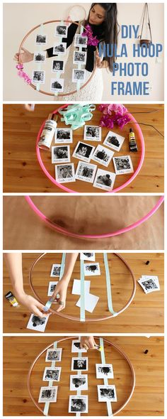 DIY Hula hoop Photo Frame #diy #photo #polaroid #romance #frame