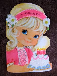 Retro birthday card yahoo search results yahoo image search vintage greeting card little blue eyed girl in pink dress glitter birthday cake m4hsunfo