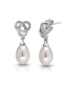 Bling Jewelry Simulated Pearl Bridal Love Knot 925 Silver Drop Earrings