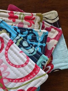 I will be making pot holders from this idea! quilted coasters. Make a bunch and sew together you have a great patch work quilt