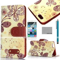 EUR € 8.99 - COCO FUN® Yellow Butterfly Pattern PU Leather Full Body Case for iPhone 6 6G 4.7 with Screen Protecter, Stand and Stylus, Gratis Frakt På Alle Gadgets!