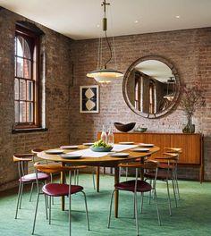 Casinha colorida: Um loft Mid Century Modern no bairro de Tribeca, NYC