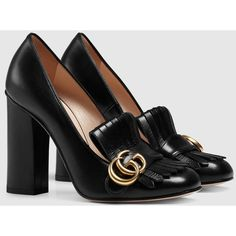 Gucci Leather Pump (€725) ❤ liked on Polyvore featuring shoes, pumps, black pumps, black shoes, real leather shoes, leather footwear and black leather shoes