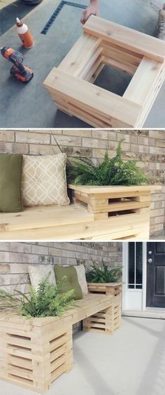 A possibility...DIY Outdoor Bench. I would like this for the back patio more info about round patio table read here: http://roundpatiotable.net/
