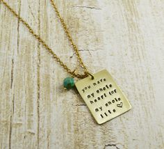Brass Quote Plate Necklace, Hand Stamped Pendant, Love Quote Charm You have my whole heart for my whole life, Valentines Gift, Wedding Gift by BeYOUtiflyCreations on Etsy