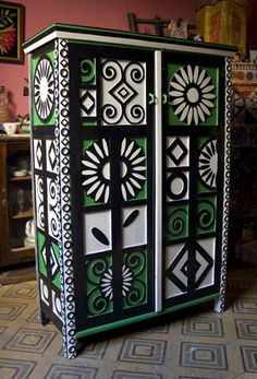 Painted cabinet with bold designs