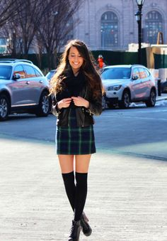 adorable winter outfit, Plaid Dress & Thigh High Socks
