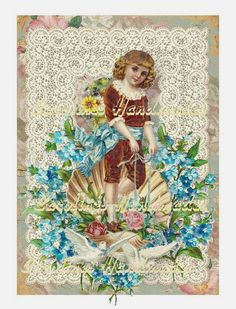"""Boy & Doves Floral Collage Cotton Fabric Quilt Block (1) @ 5X7"""" on 8.5X11"""" Sheet #YOURSTRULY"""